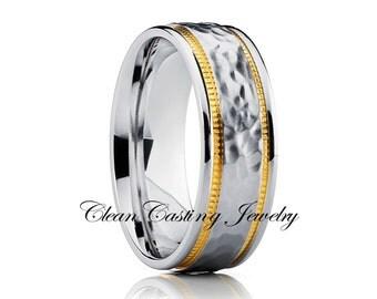 Titanium Wedding Band,Hammered Titanium Wedding Ring,Unique Titanium Wedding Band,Comfort Fit,18k Yellow Gold,Sating Finish,Handmade