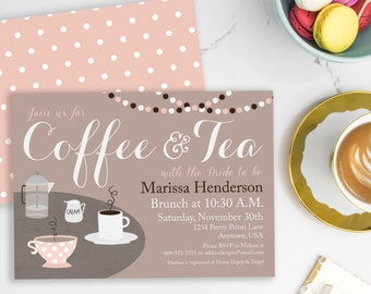 Coffee Invitation, Coffee Bridal Shower, Tea with the Bride, Bridal Brunch, Bridal Tea Invitation, Brunch Invitation, Printable Invite, #32