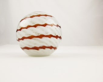 Caramel and White Clouds - A Large Glass Ball Paperweight - Desk Accessory - Ball Inside a Ball - Collection