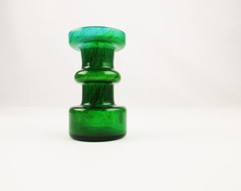 "An 'Ekenas Glasbruk' Blue + Green Candleholder - Swedish Glass  - 4"" Tall - Ekenas, Sweden - Scandinavian Glass - John-Orwar Lake Design"