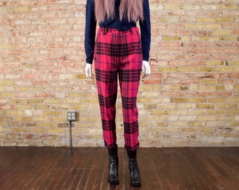 BENETTON wool trousers / united colors of benetton / pink plaid pants / post punk / zippered pants / pleated trousers / 90s wool pants