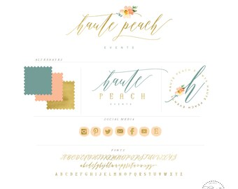 handlettered logo -  logo design  - calligraphy logo - gold logo - watercolor logo- business branding - pretty logo - freshmint paperie