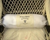 Cushion Pillow   Bolster Sleeve  in old Linen with antique French Publicity Print Sleeve Couverture Polochon