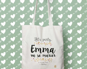 "Bag ""Let's party"", Tote bag to customize, control, Tote, bridesmaid, wedding, EVJF gift bag"