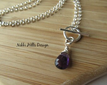 Wire Wrapped Amethyst Necklace, Purple Amethyst Necklace, February Birthstone
