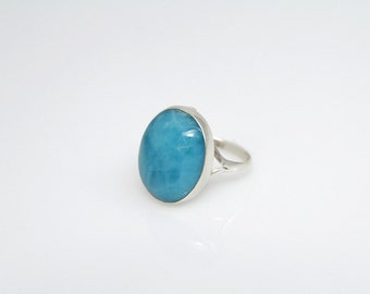 Larimar Ring, Awesome Blue Larimar Stone, Classic Handcrafted Dominican Jewelry, Size 8.5