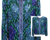 Vintage Sequined Evening Jacket in Shades of Blue / Purple / Green by Laurence Kazar - Fits Size Medium to Large