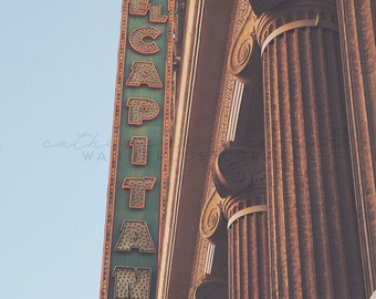 El Capitan Theater |  Photographic Print -  Hollywood, Los Angeles, California, Bohemian, blue, boho, decorating, Vintage, Decor, art deco