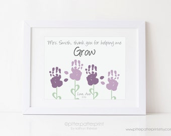 Teacher Gift for Nanny, Daycare, Babysitter, Handprint Flower Art Print, Personalized Thank you Present using Your Child's Hands, UNFRAMED