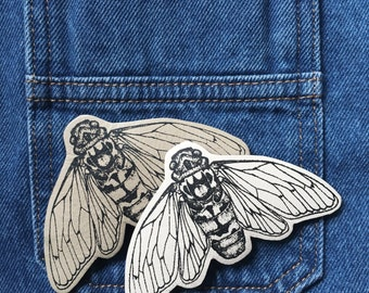 Screen Printed Leather Cicada Brooch