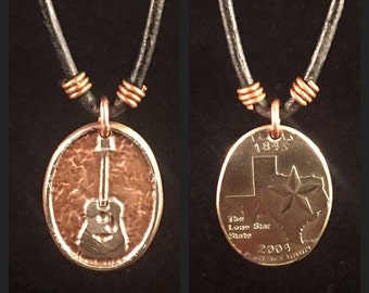 Guitar Necklace. Etched Coin Necklace. Texas Coin. Texas quarter necklace. Texas charm. Texas Necklce. Guitar Charm. Musician Charm.