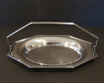 "Silver Plated Basket Tray with Handle and ""L"" Monogram / Sheffield Silver Co. / Silverplated Tray"