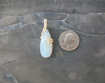 Sterling Silver Wire Wrapped Opalite Pendant