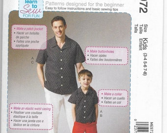 M6972 McCall's Boy's Shirt, Shorts, and Pants Sewing Pattern Sizes 3-8 Kid Sizes Only Rated Easy for Beginning Sewers