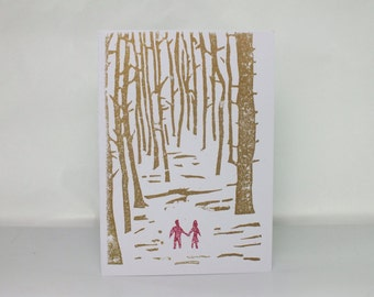 Linocut anniversary, wedding greetings card - Couple walking through the forest - copper red