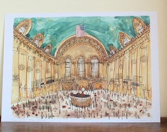 Grand Central Terminal New York City, Signed Art Print from Watercolor Painting, Train Station NYC Terminal, Clare Caulfield