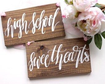 High School Sweethearts Chair Signs, Rustic Wedding Signs, Photo Prop Signs | 10x5.5 Set