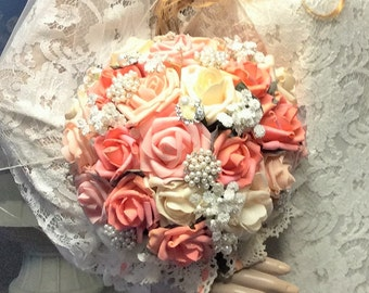 Brooch and Fabric Bouquet-Wedding Bouquet-Wedding Flowers-Brides Wedding Flower Bouquet-Coral/Ivory/Pink Bridal Bouquet-Vintage Style