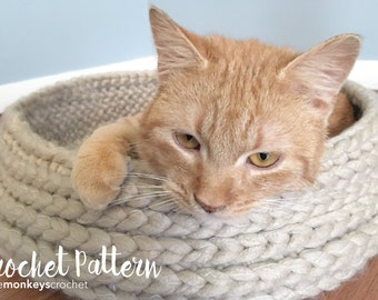 Cat Bed Crochet Pattern (Tabby Chic Cat Bed Crochet Pattern by Little Monkeys Crochet) PDF Crochet Cat Bed Rustic Modern Shabby Chic Kitty