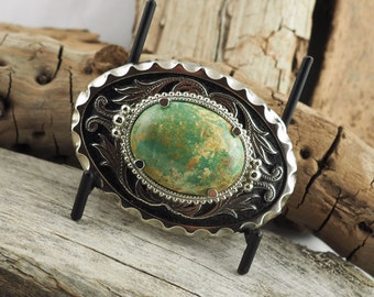 Western Belt Buckle - Turquoise Belt Buckle - Cowboy Belt Buckle -  Silver Tone & Black Belt Buckle with a Genuine Turquoise Stone