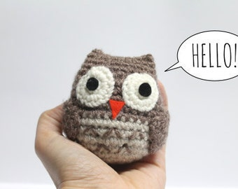 Super Soft Amigurumi Owl Crochet Toy Blue Pink Beige Light Brown Dark Grey