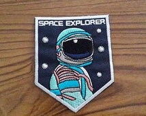 Space Explorer Iron on Patch - Astronaut Applique Embroidered Iron on Patch