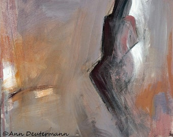 abstract figure painting - lavender - Giclee' print - FREE US SHIPPING