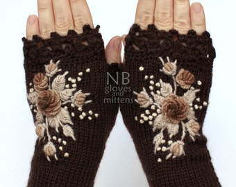 Knitted Fingerless Gloves, Chocolate Brown, Beige, Cappuccino, Roses, Gloves & Mittens, Gift Ideas, For Her,  Accessories, READY TO SHIP