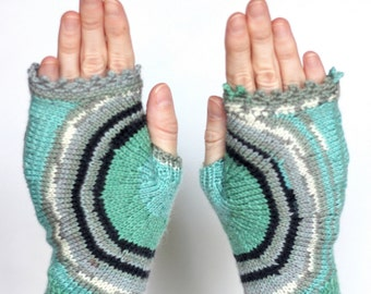 Hand Knitted Fingerless Gloves, Green, Multicolor, Clothing and Accessories,Gloves & Mittens, Gift Ideas, For Her, Winter, READY TO SHIP,