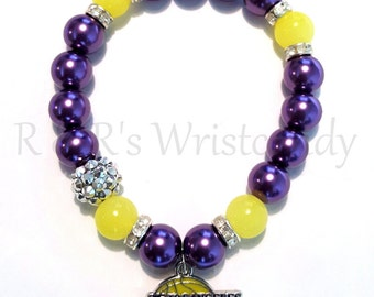 L.A. Lakers Beaded Bracelet, NBA Basketball Bracelets, Team Spirit, Lakers, Stretchy, Womens, Handmade Custom Jewelry