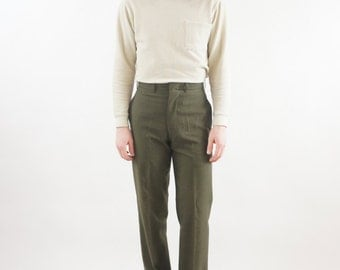 Men's Military Olive Green Vintage High Waisted Pants / Trousers Size 28 29x30