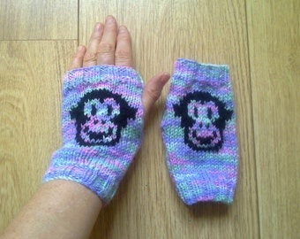 Wrist warmers - monkey faces - chimp - fingerless gloves - mittens