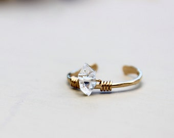 Solitaire Herkimer Diamond Ring, Gold Ring, Gold Rings, diamond rings, Raw diamond ring, Crystal ring