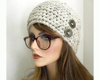 Beanie Hat, Oatmeal Tweed Beanie, Beanie with Buttons, Tan hat, Winter Beanie, Hats for Women, Clouch Hat, Warm Hat, Black Hat
