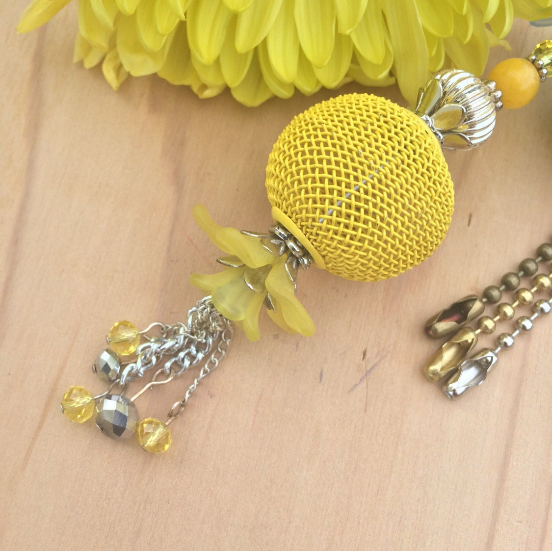 Yellow Ceiling Fan Pull Beaded Light Pull Ball Chain Pulls