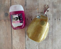 Pocket Hand Sanitizer Holder- Gold Glitter Vinyl with Snap, Great for Backpacks, Bags and Purses, Quick Ship, Choose from 25 Colors