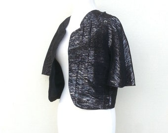 Black Silver Tinsel Cropped Jacket