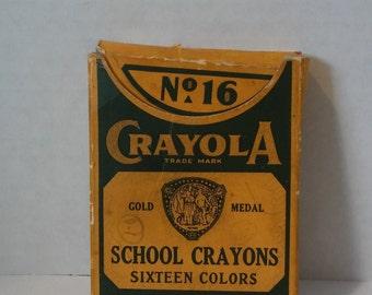 1950's Crayola Crayons 16 count, Mid Century