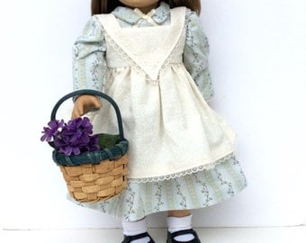 Historic Inspired Doll Dress, 18 Inch Doll Dress and Pinafore, Early American Ensemble, Easter Doll Dress