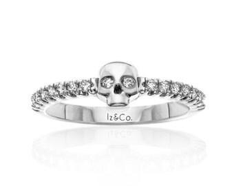 White Gold Diamond Skull Band Alternative Ring Bride Skulls Jewelry