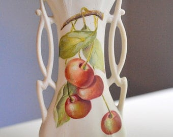 Bud Vase Hand Painted Cherries