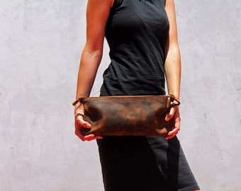 Brown leather clutch, leather clutch, brown clutch, evening clutch bag, handbag clutch, leather handbag, clutch bag,  handmade leather bag