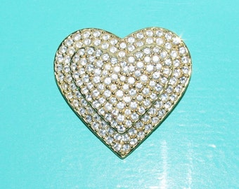 Joan Rivers Brooch - Crystal Heart Pin - S1479