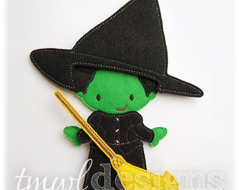 Wicked Witch Dress Felt Paper Doll Toy Outfit Digital Design File - 5x7