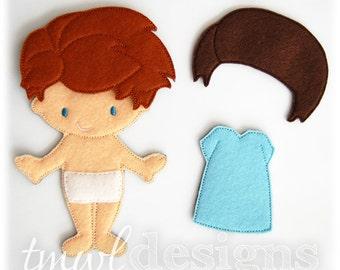 Ayden Felt Paper Doll Toy Digital Design File - 5x7