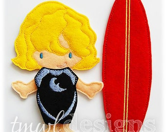 Wetsuit Felt Paper Doll Toy Outfits Digital Design File - 5x7
