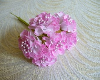 Small Pink Flowers Bunch of 6 Blossoms with Stamens for Hats Fascinators Floral Crowns Crafts