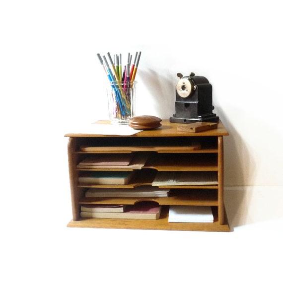 Old Fashioned Wooden Desk Mail Organizer