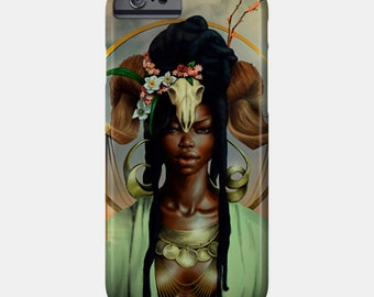 Aries iPhone Case African American Goddess Black Girl Magic Afrofuturism
