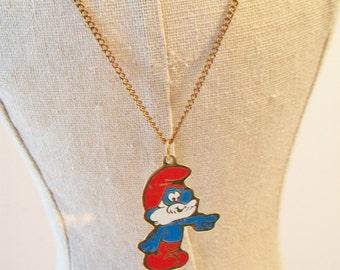Vintage Papa Smurf Necklace Retro Pendant